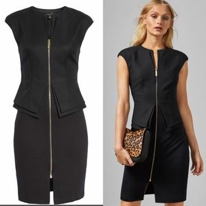 Ted Baker Kwyli Black Structured Peplum Dress 12